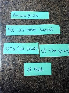 Romans 3:23 in puzzle form to help kids learn.